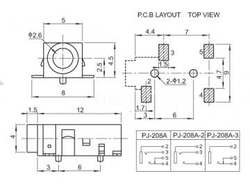 双声道2.5耳机接头 蓝牙贴片式音频插座pj-208a