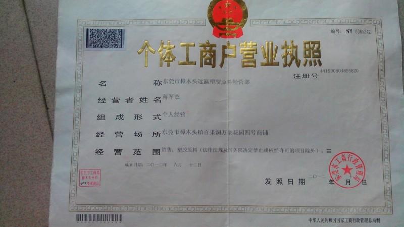 东莞市远赢塑胶组织机构代码证