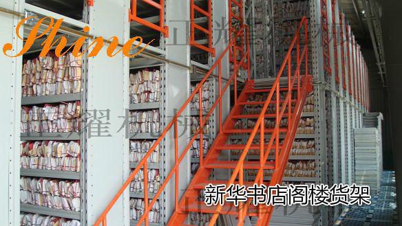我公司为新华书店量身定做的阁楼式货架,结构简单,可拆卸,存储量提高好几倍,密集存储,货物排放整齐,一名了然,方便存储,施工快,造价低。
