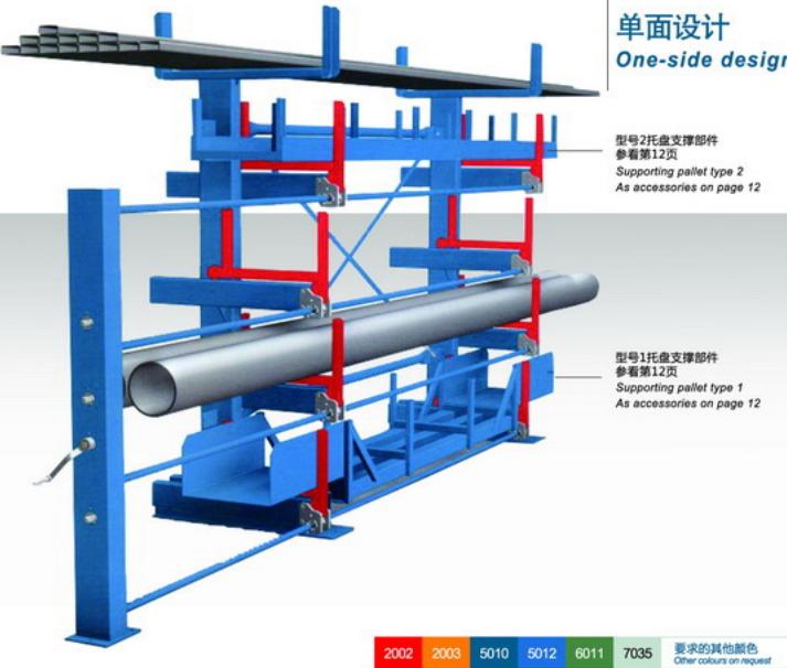管材悬臂式货架分单面悬臂和双面悬臂